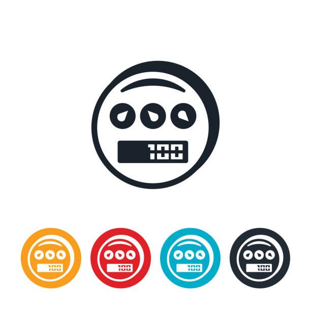 ilustraciones, imágenes clip art, dibujos animados e iconos de stock de icono del medidor de la utilidad - amperímetro