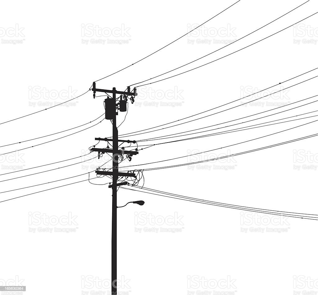 Utility pole silhouette vector art illustration