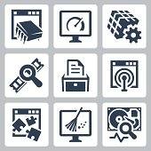 Utility software vector icons set