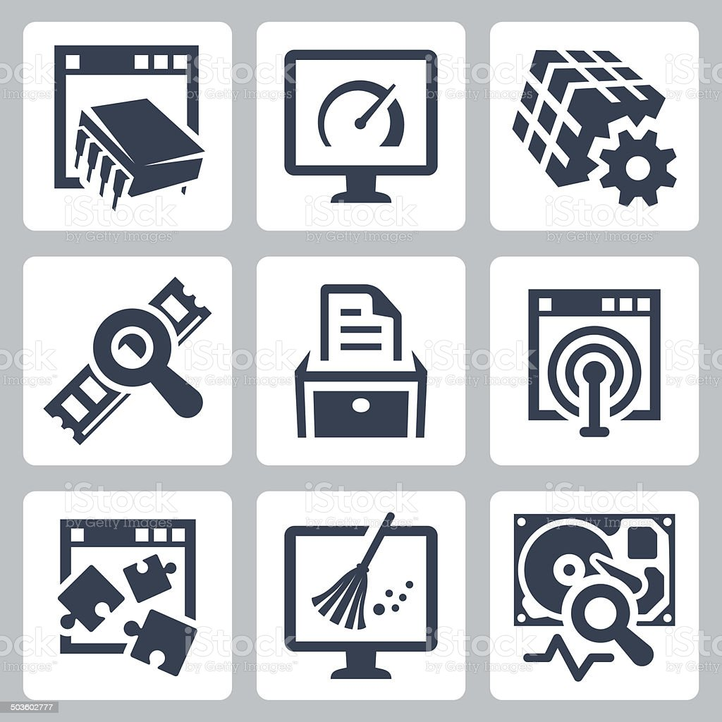 Utility software vector icons set vector art illustration