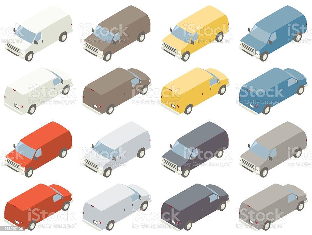 Utility Van Isometric Illustration vector art illustration