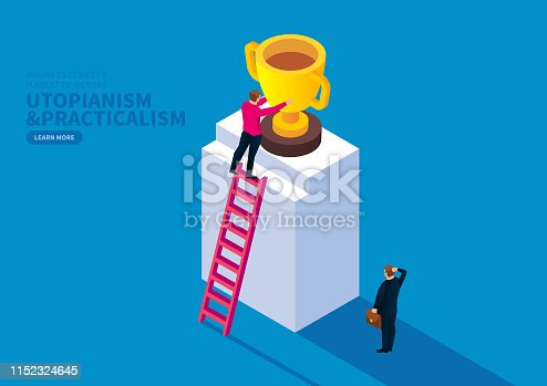 Man climbing a ladder to get a trophy,Contrast the person who is thinking