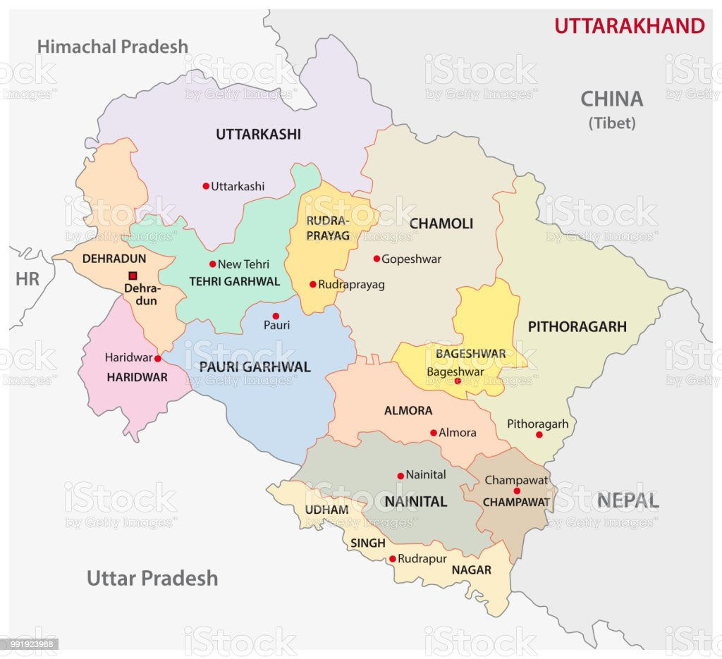 Uttarakhand Administrative And Political District Map India Stock ...
