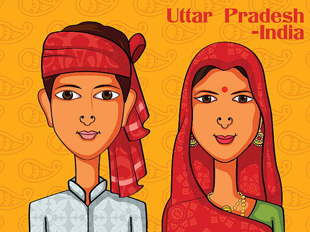 uttarpradeshi couple in traditional costume of uttar pradesh, india - varanasi stock-grafiken, -clipart, -cartoons und -symbole