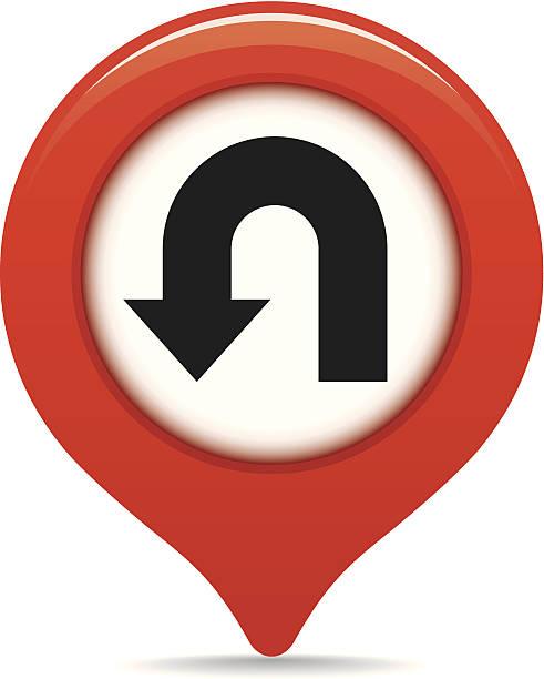 U-turn map pointer vector art illustration