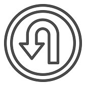 istock U-turn traffic sign line icon, Navigation concept road sign with turn symbol on white background, U-Turn road sign icon in outline style for mobile concept and web design. Vector graphics. 1254051042
