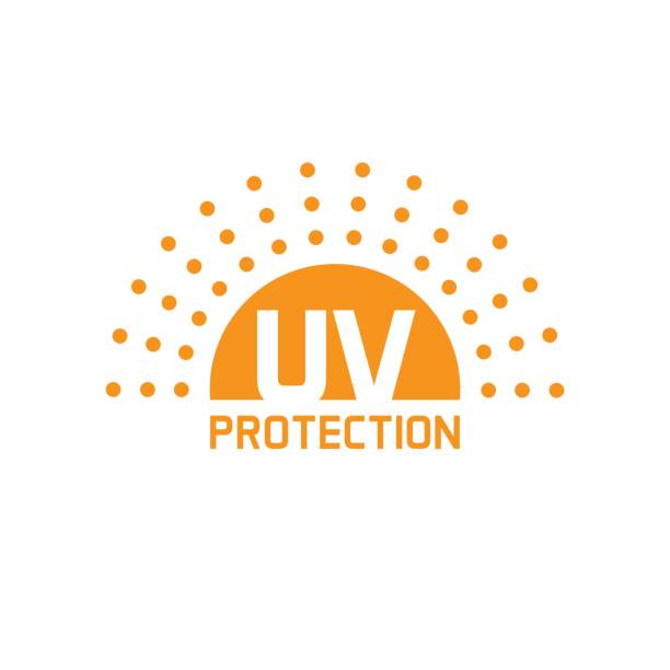 uv protection icon vector isolated, anti sun protect label - sun cream stock illustrations