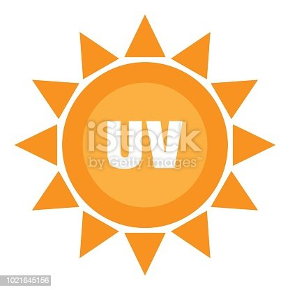 Uv sun logo. Flat illustration of uv sun vector logo for web design