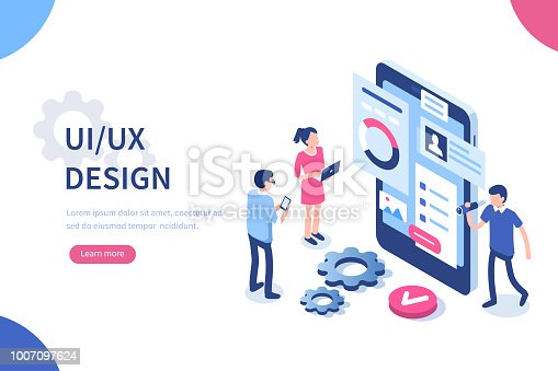 UX / UI design concept with character and text place. Can use for web banner, infographics, hero images. Flat isometric vector illustration isolated on white background.