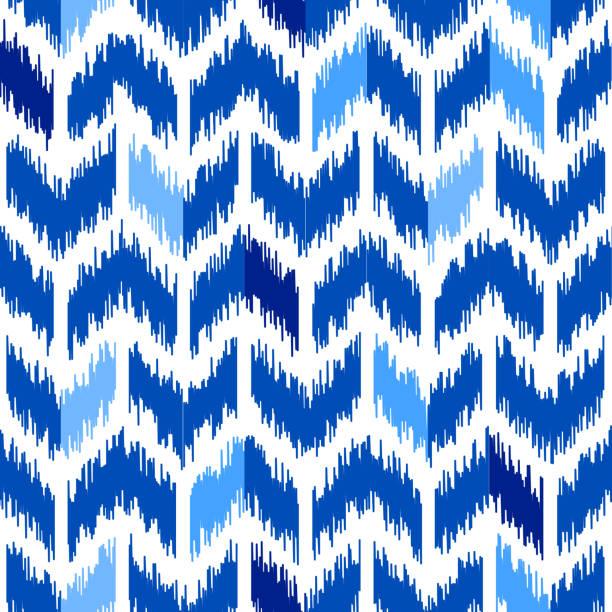 Uzbek ikat silk fabric pattern, indigo blue and white colors. vector art illustration