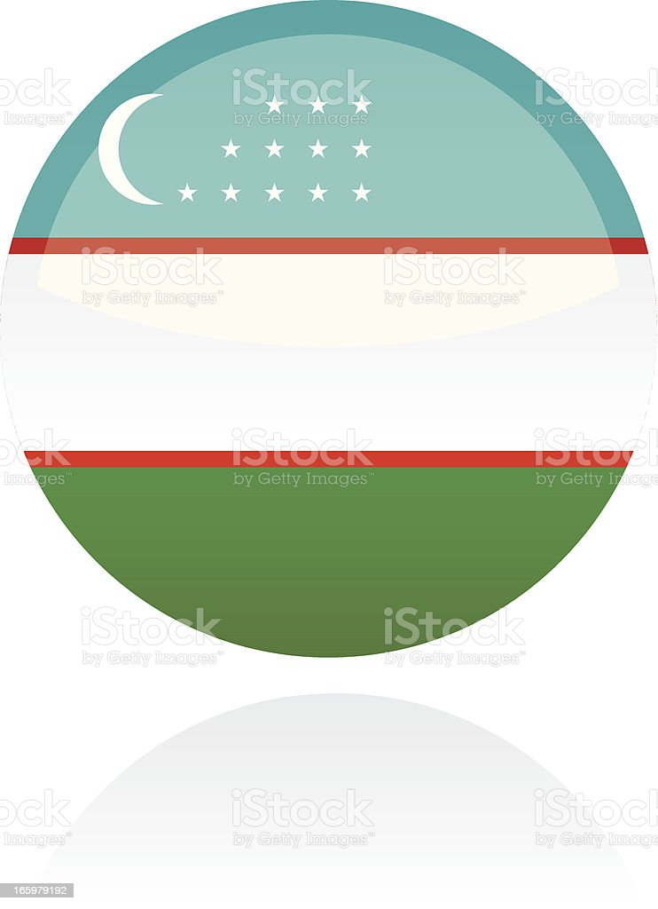 Uzbekistan, Asia Flag Button royalty-free stock vector art
