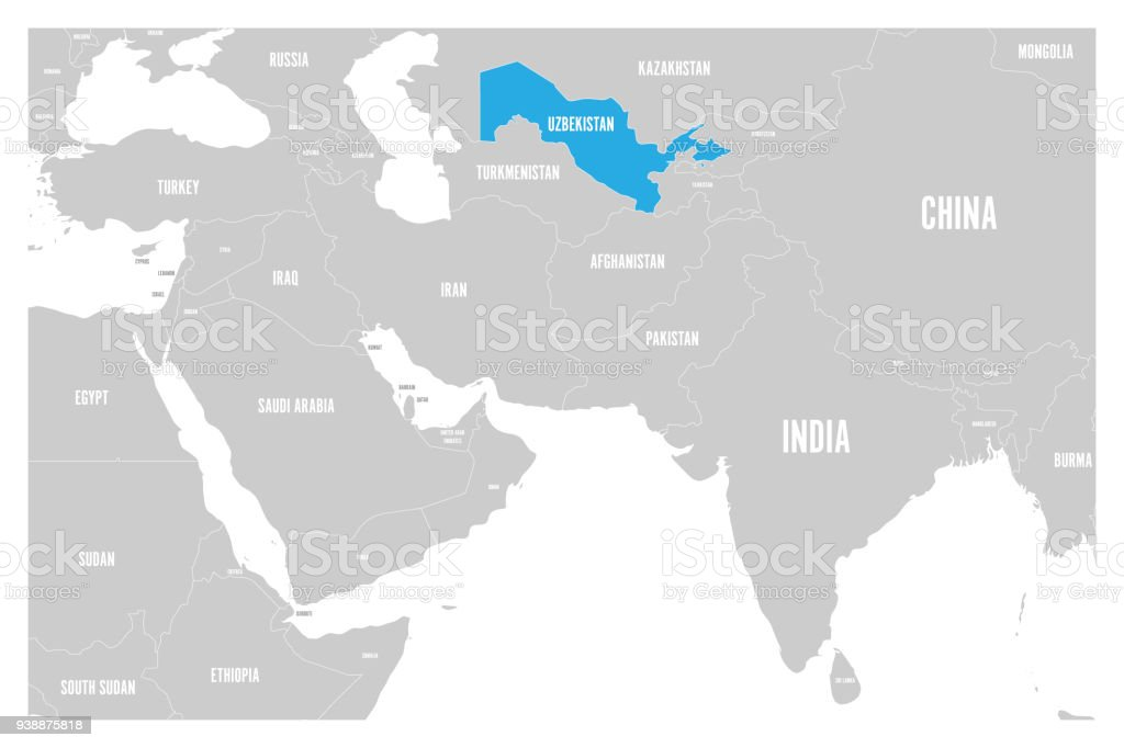 Uzbekistan Blue Marked In Political Map Of South Asia And Middle