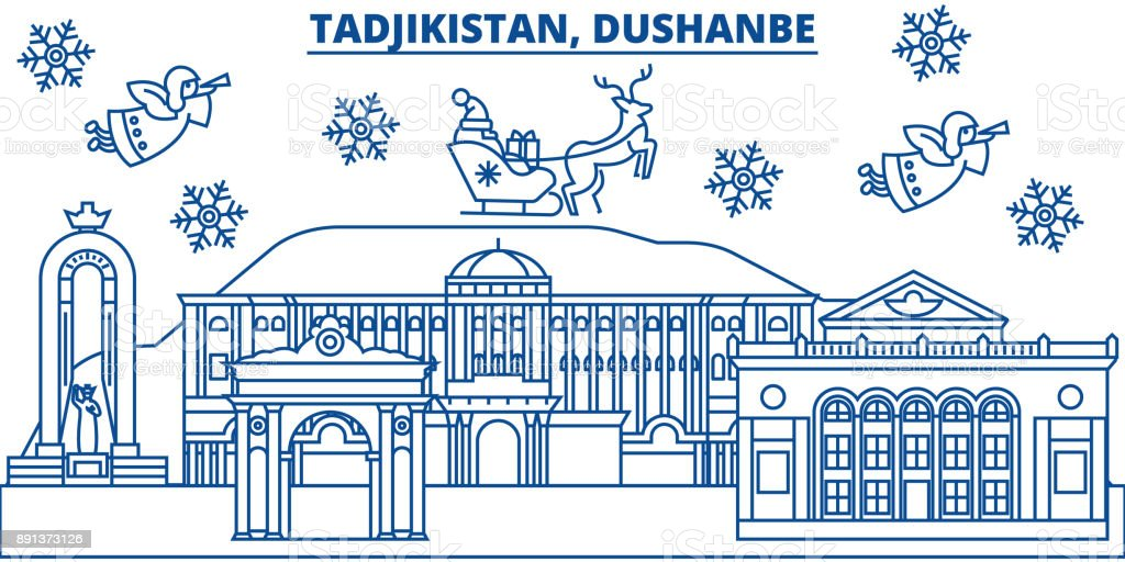 uzbekistan dushanbe winter city skyline merry christmas happy new year decorated banner with