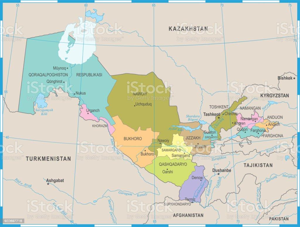 Usbekistan Karte.Usbekistan Karte Detaillierte Vektorillustration Stock Vektor Art