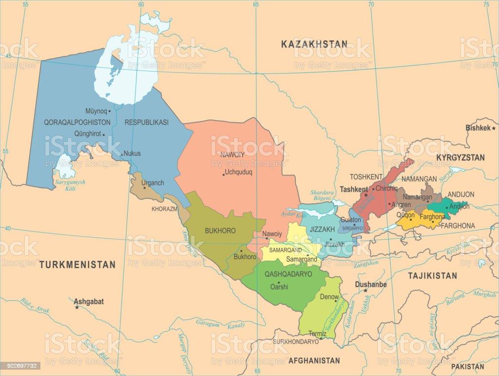 Uzbekistan Map Detailed Vector Illustration Stock Vector Art - Uzbekistan map