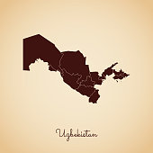 Uzbekistan region map: retro style brown outline on old paper background.
