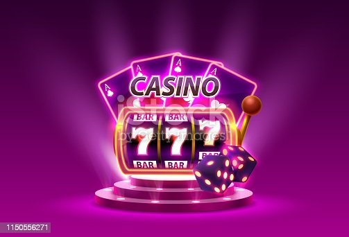 Casino slots 777 banner winner, scene podium. Vector illustration