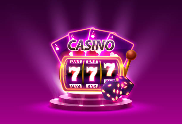 v Casino slots 777 banner winner, scene podium. Vector illustration casino stock illustrations