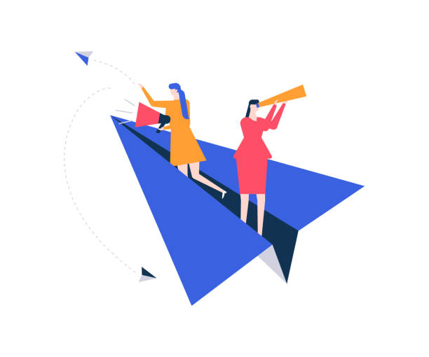 Vacancy announcement - flat design style colorful illustration Vacancy announcement - flat design style colorful illustration on white background. Female specialists searching for candidate, flying on paper plane, looking through spyglass, speaking with megaphone vacancy stock illustrations