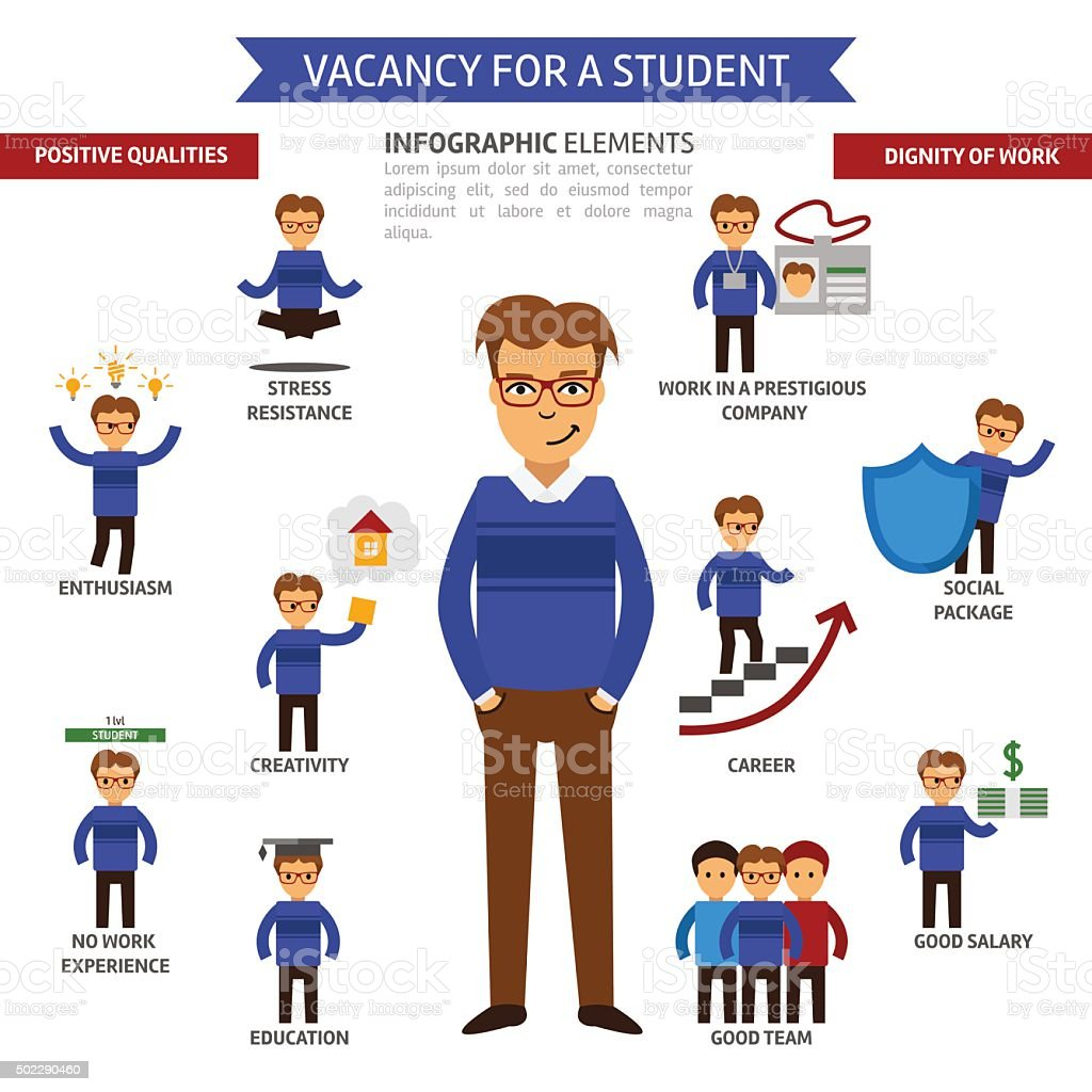 Vacancy for a student infographic elements vector art illustration