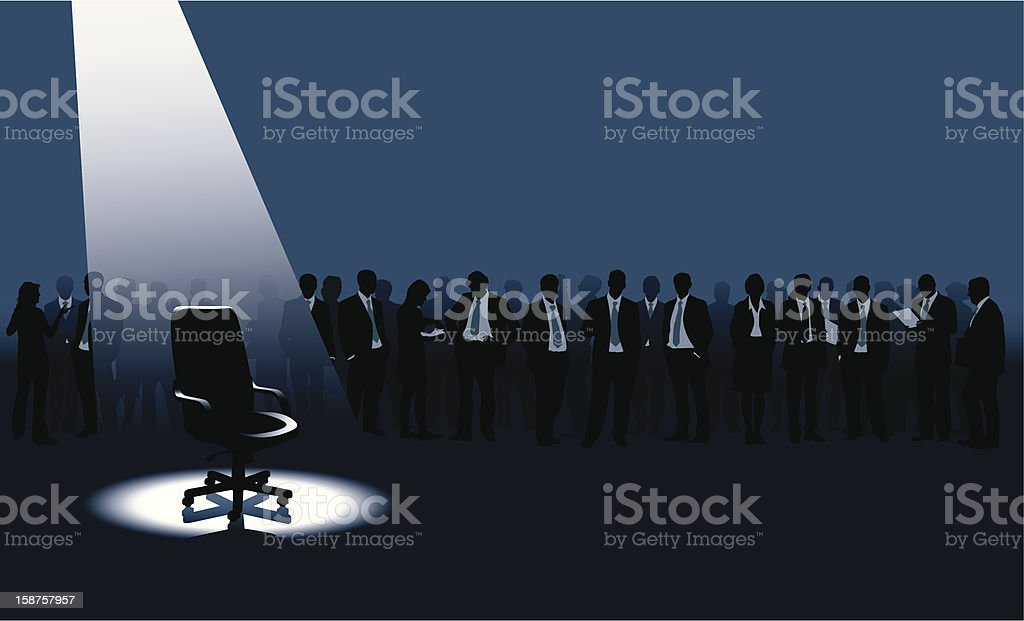 Vacant office chair under spotlight and business people vector art illustration