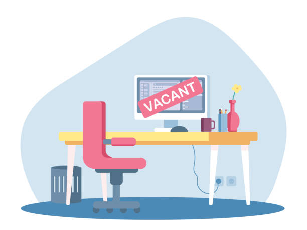 Vacant place for system administrator advertising Vacant place for system administrator advertising template. Desk with computer monitor and chair. Empty well equipped office. Business hiring, job openings and recruiting. Vector flat illustration vacancy stock illustrations