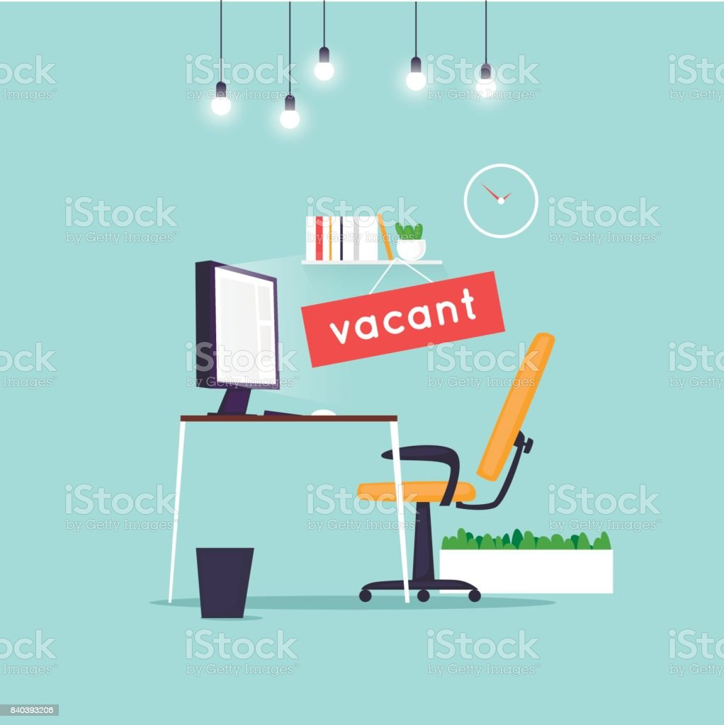 Vacant workplace. Office desk with computer, chair. Interior. Flat design vector illustration. vector art illustration