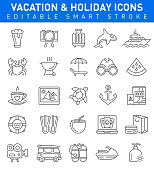 Vacation and Summer Holidays Icon set with Travel,Beer,Beach and Camera Symbols