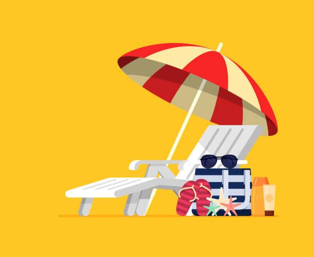 urlaub und reisen-konzept. sonnenschirm, strandkorb - sonnenstuhl stock-grafiken, -clipart, -cartoons und -symbole