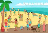 People on beach summer sea vacations activity background vector illustration