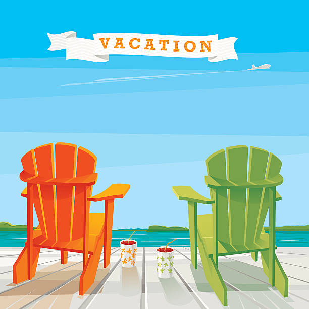 Vacation Background Orange and green Adirondack chairs on the deck with