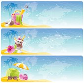 Vacation banners set