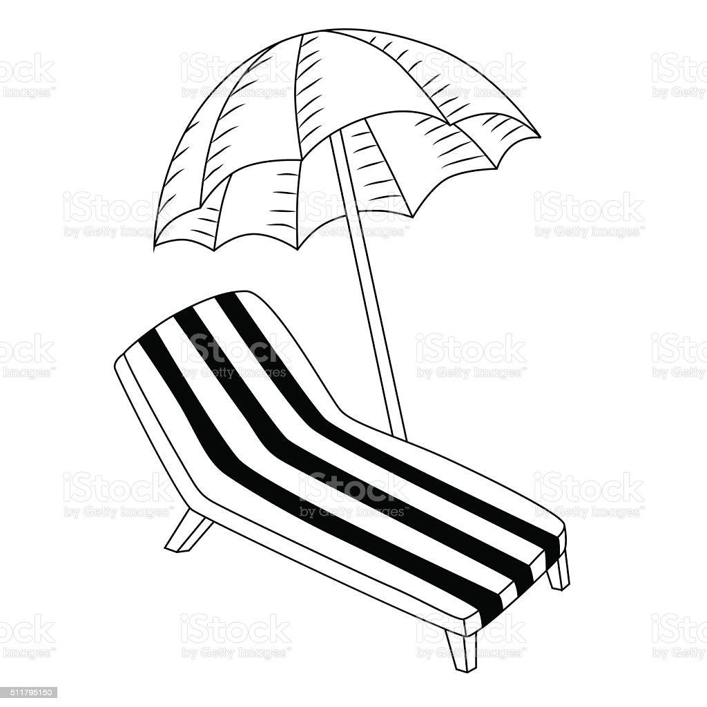urlaub liegestuhl mit sonnenschirm schwarzwei isoliert vektorillustration stock vektor art und. Black Bedroom Furniture Sets. Home Design Ideas