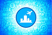 Vacation Departure Icon on Business and Finance Vector Background. The blue button with the white icon on it is in the center of the illustration. The button is surrounded with business and finance icon pattern. The icons vary in size and shades of blue color. There is a white glow around the round button which helps it stand out from the background. The icons include such popular business and finance symbols as business people, business meetings and travel, profits and financial charts and many more. You can also use each icon separately from the main background.