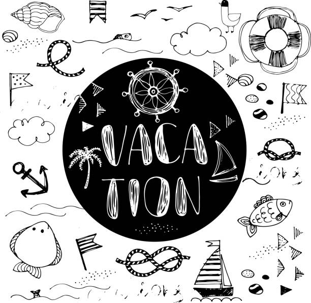 Vacation doodle card. Summer doodles abstract background - illustrazione arte vettoriale