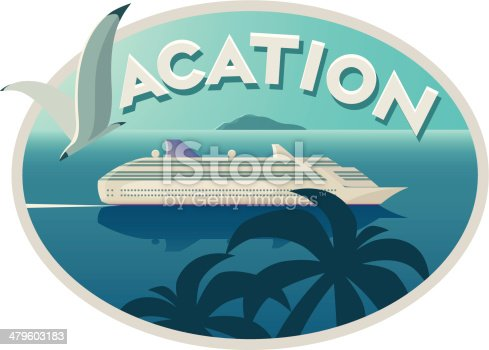 Vacation emblem with cruise liner. EPS 10 file. Transparency is used in some lights and shadows.