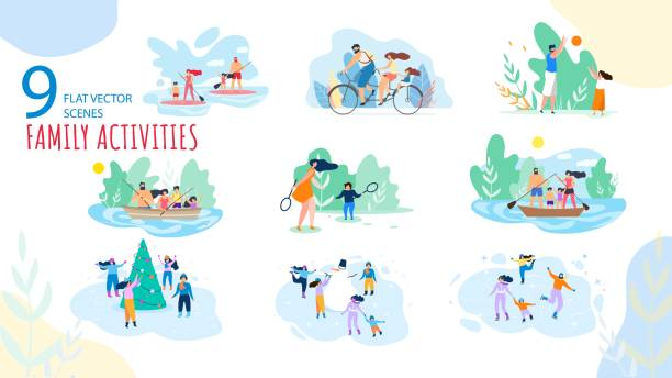 Vacation Family Activities Scenes Flat Vector Set Summer, Winter Vacation Family Activities Trendy Vector Isolated Scenes Set. Parents with Kids Paddle Boarding, Riding Bicycle, Fishing on Boat, Playing Games, Ice-Skating Around Snowman Illustration active lifestyle stock illustrations