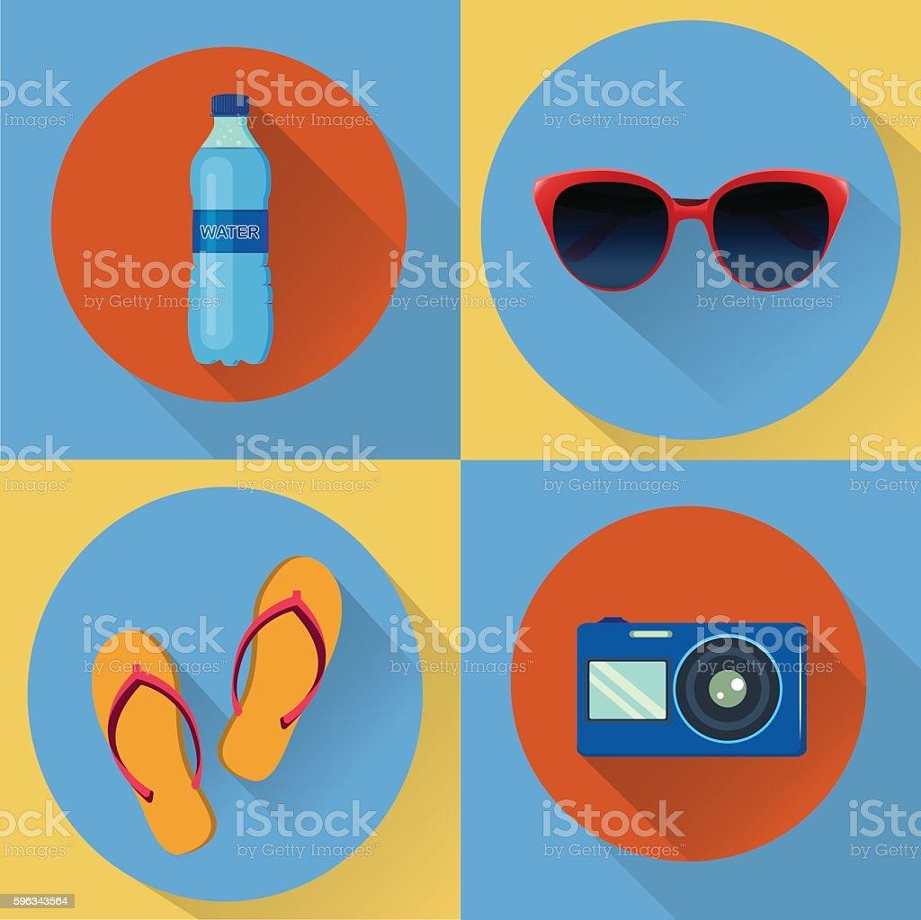 Vacation flat icons. Set of four vector icons Lizenzfreies vacation flat icons set of four vector icons stock vektor art und mehr bilder von badelatsche