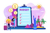 Couple planning honeymoon holiday, choosing trip destination flat characters. Vacation fund, summer spending plan, vacation budget plan concept. Bright vibrant violet vector isolated illustration