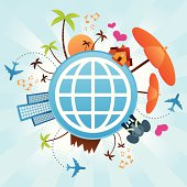 A globe surrounded by vacation and holiday icons such beach umbrella, palms, music, airplane.