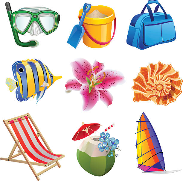 Vacation Icon Set vector art illustration