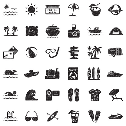 Vacation Icons. Black Scribble Design. Vector Illustration