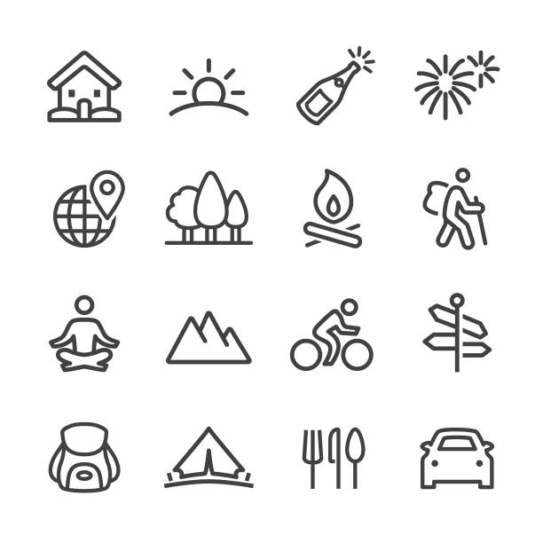 Vacation Icons - Line Series Vacation, Camping, Journey, touring car stock illustrations