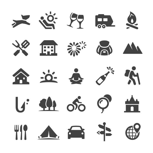 Vacation Icons - Smart Series Vacation, touring car stock illustrations