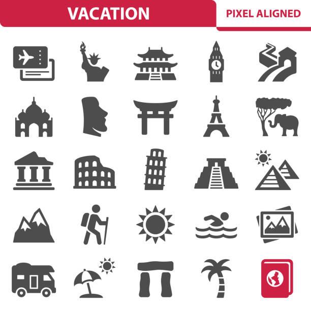 ilustraciones, imágenes clip art, dibujos animados e iconos de stock de iconos de vacaciones - viaje a áfrica