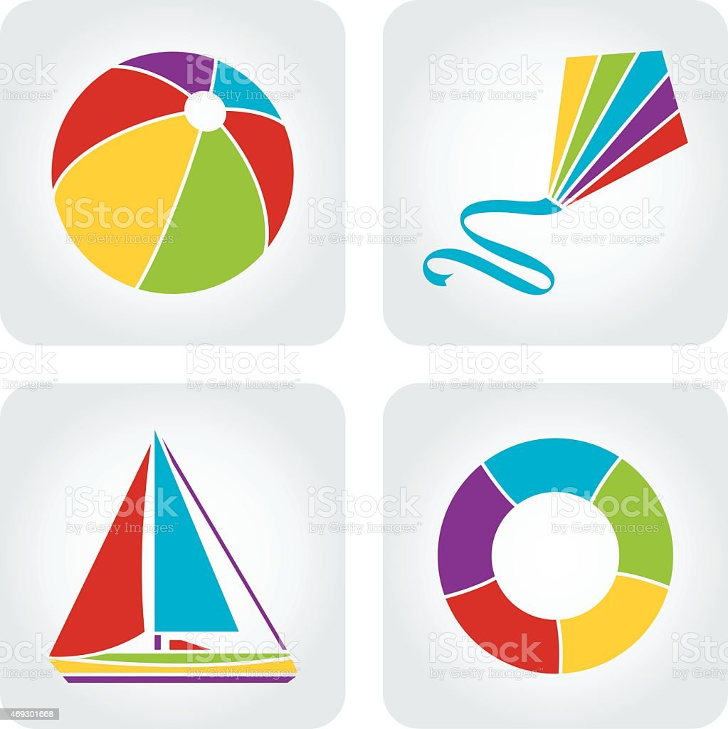 Vacation icons vector art illustration