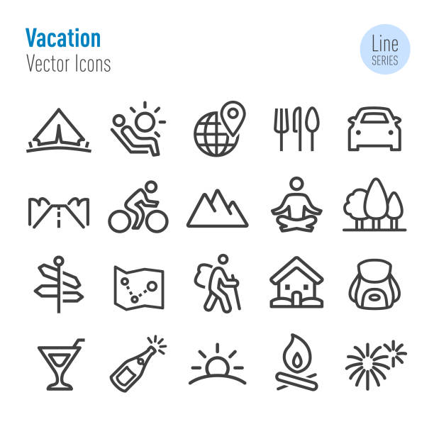 Vacation Icons - Vector Line Series Vacation, journey, touring car stock illustrations