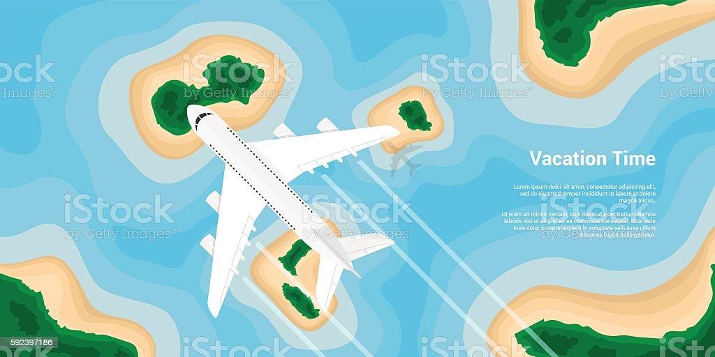 vacation in paradice vector art illustration