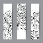 Vacation Items. Vector Cards and Banners Set. Adventure Time Concept. Black and White illustration.