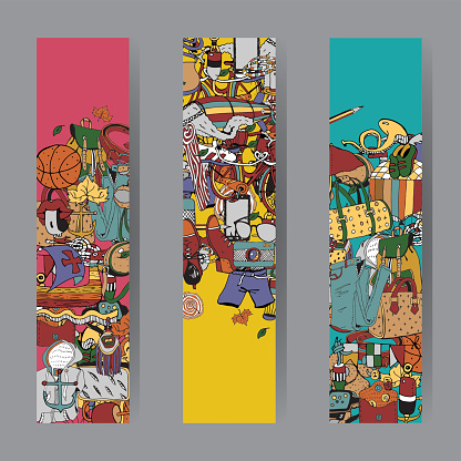 Vacation Items. Vector Cards and Banners Set. Adventure Time Concept.